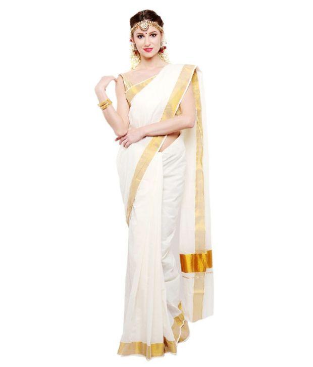 Madhav Raj Bvb White Kasavu Silk Saree - Pack of 2