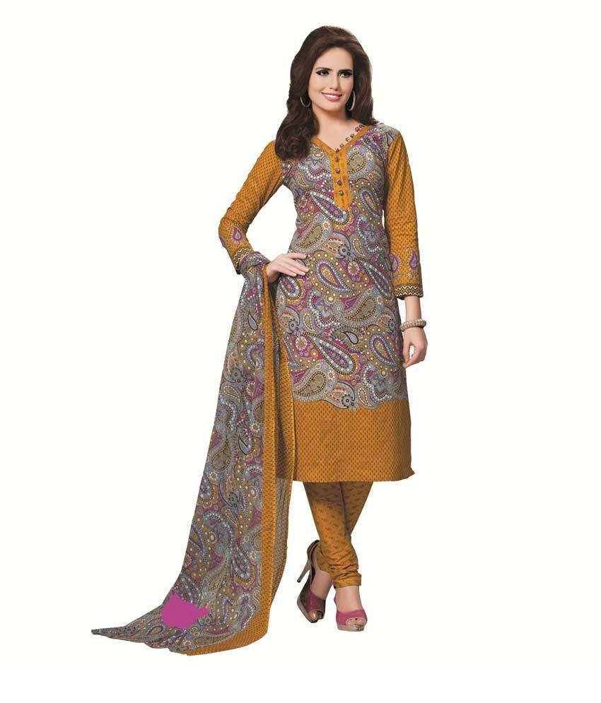 Fabrics Villa Yellow Cotton Printed Dress Material