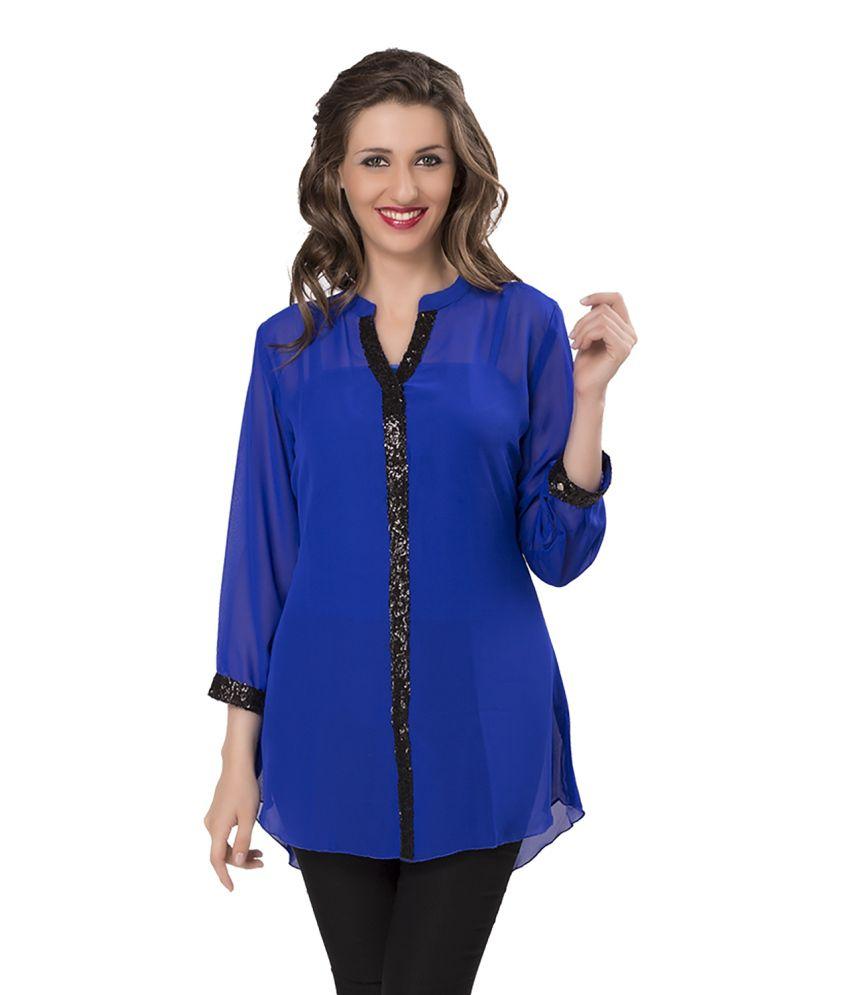 399b760afb958d Ishin Casual Full Sleeves Solid Women s Georgette Blue Western Top