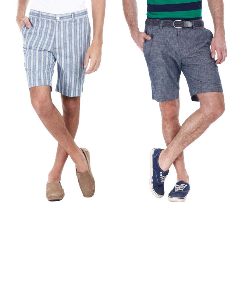 Zobello Combo Of 2 Blue And Gray Cotton Shorts