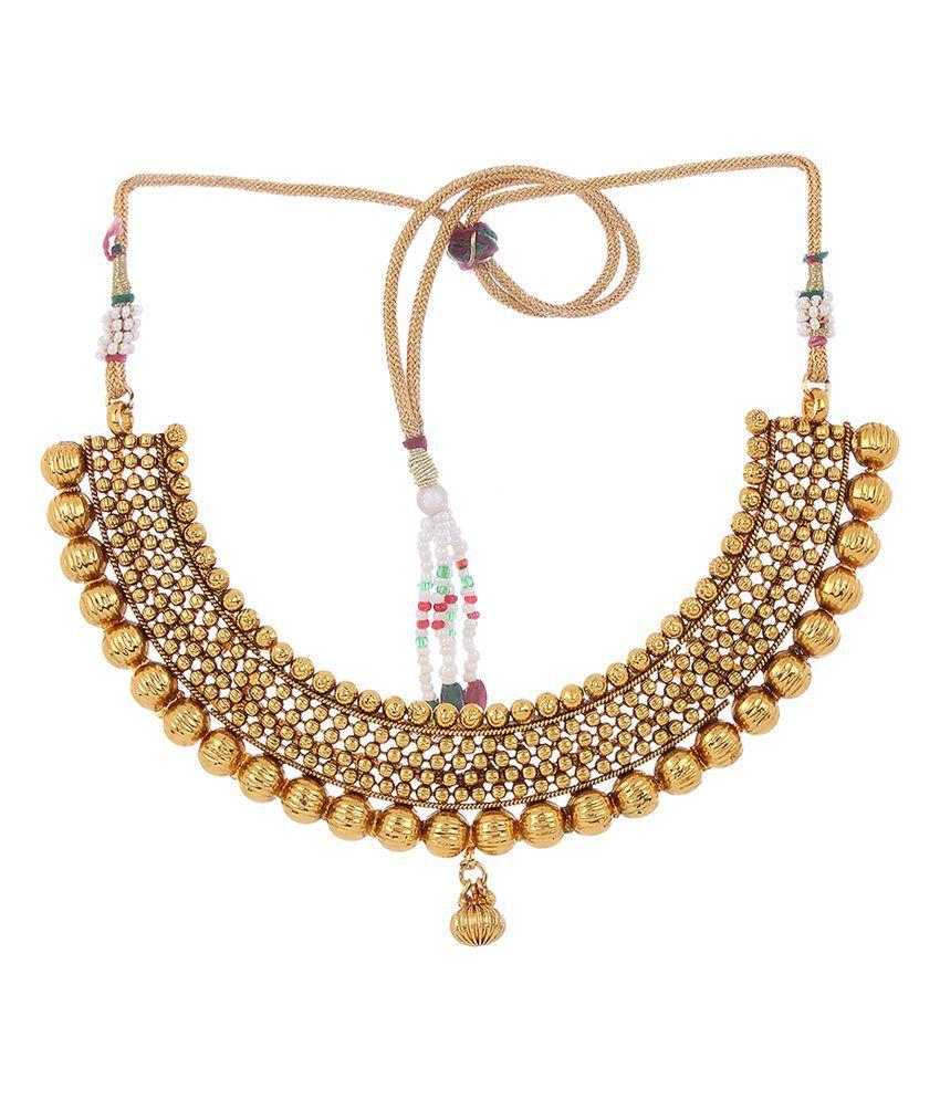 Adwitiya collection Choker Gold Necklace Set - Buy Adwitiya ...