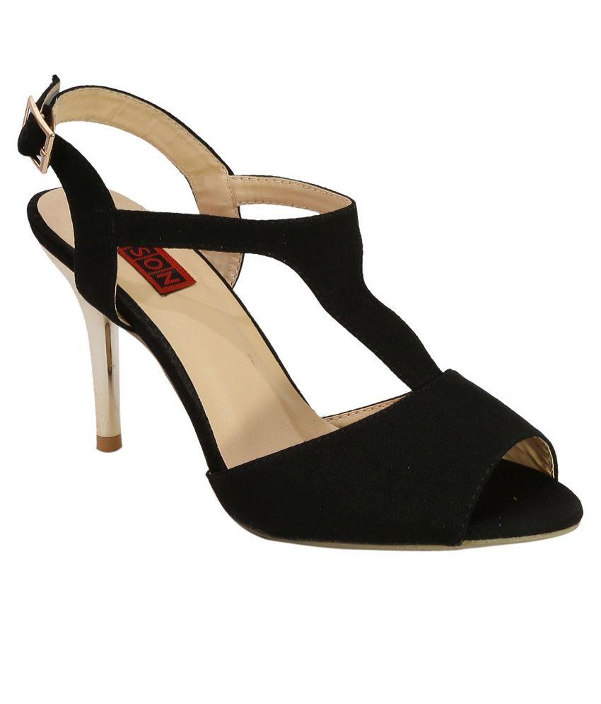 Belson Black Leather Heeled Sandals