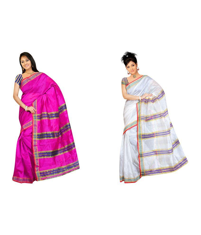 Ganpati Textile Tussar Silk Gorgeous Saree Pack of 2
