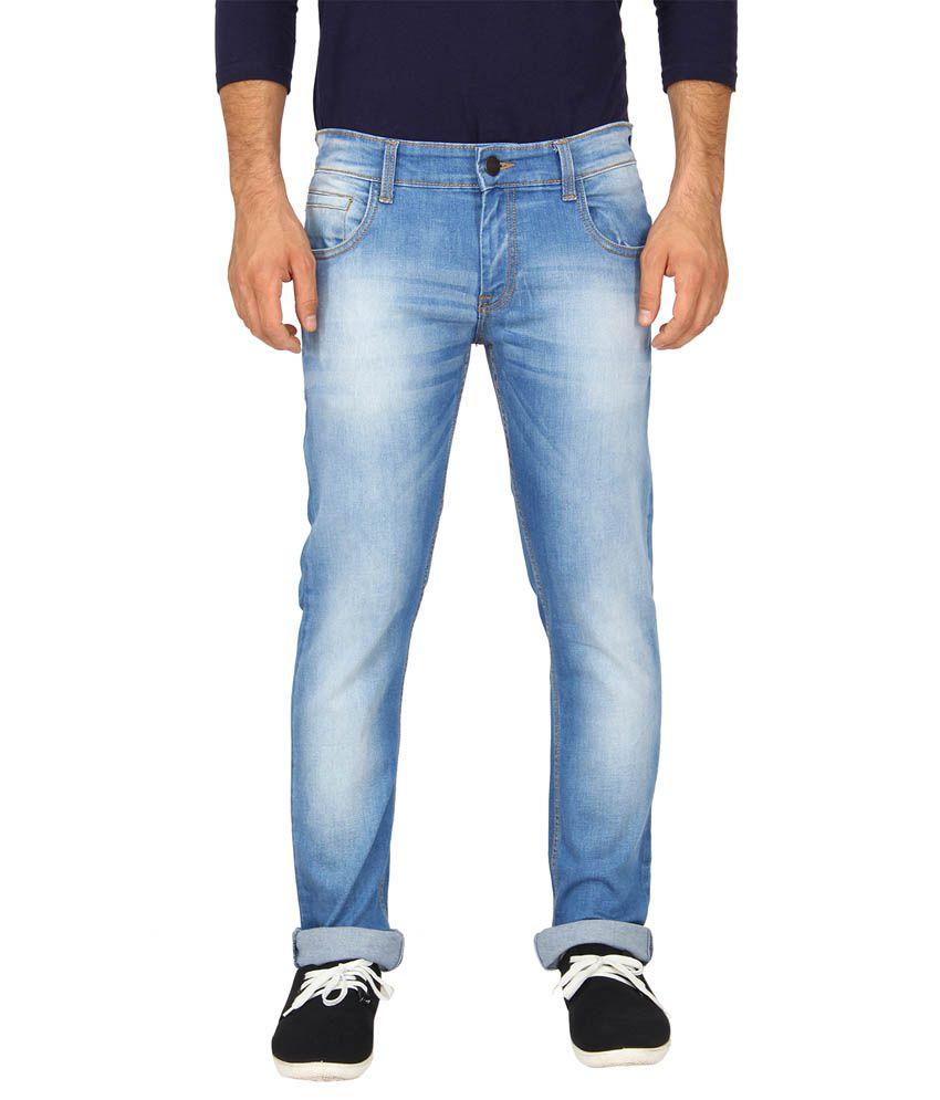 Le Bison Blue Cotton Faded Slim Fit Jeans