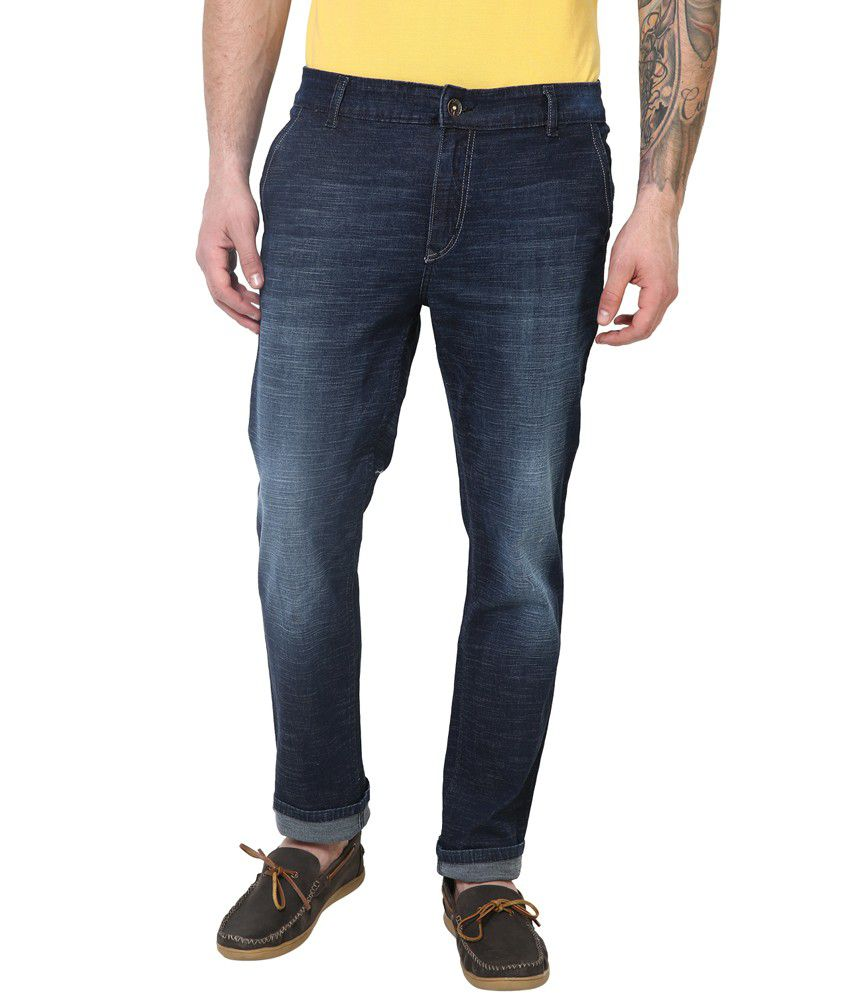 Super-x Blue Cotton Basics Skinny Fit Jeans