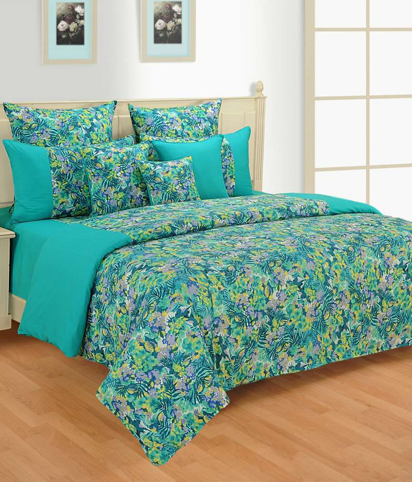 Swayam Signature Turquoise Fitted Double Bed Sheet With 2 Pillow Covers ...