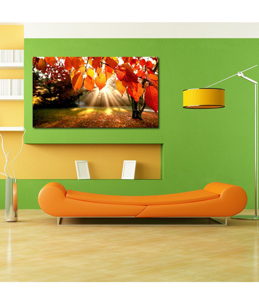 999Store Yellow Leaves Printed Modern Wall Art Painting - Large Size