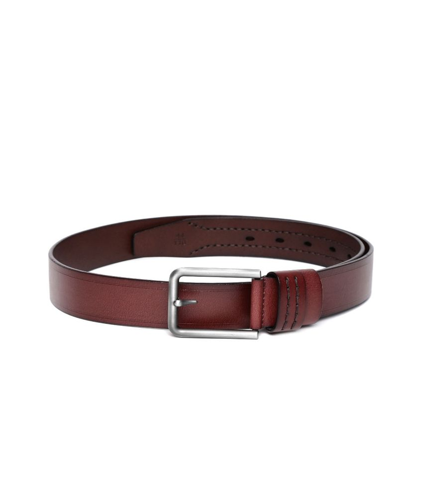 Addons Brown Leather Casual Belt For Men