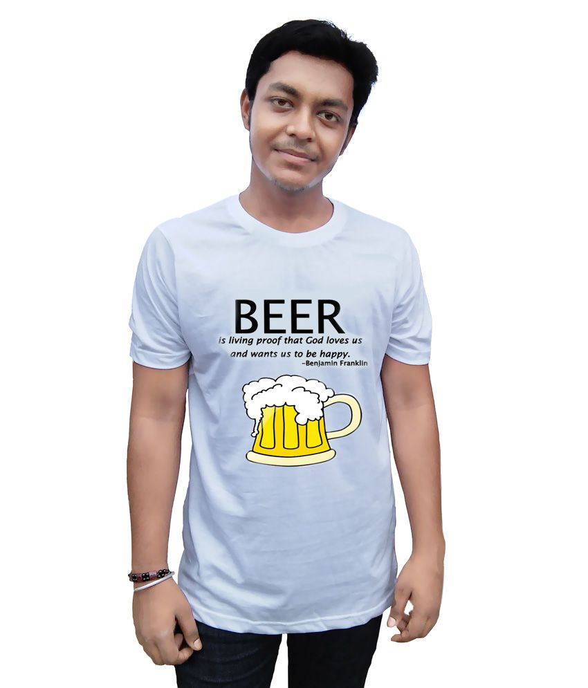 Colour Collage White Cotton Blend Alcohol-beer Quote T Shirt