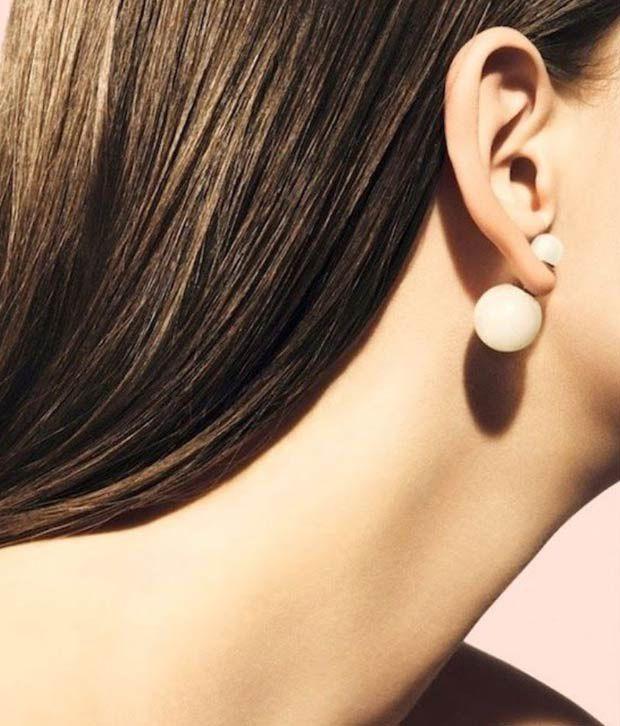 e61585760c11 FemNmas White Double Pearl Earrings - Buy FemNmas White Double Pearl ...