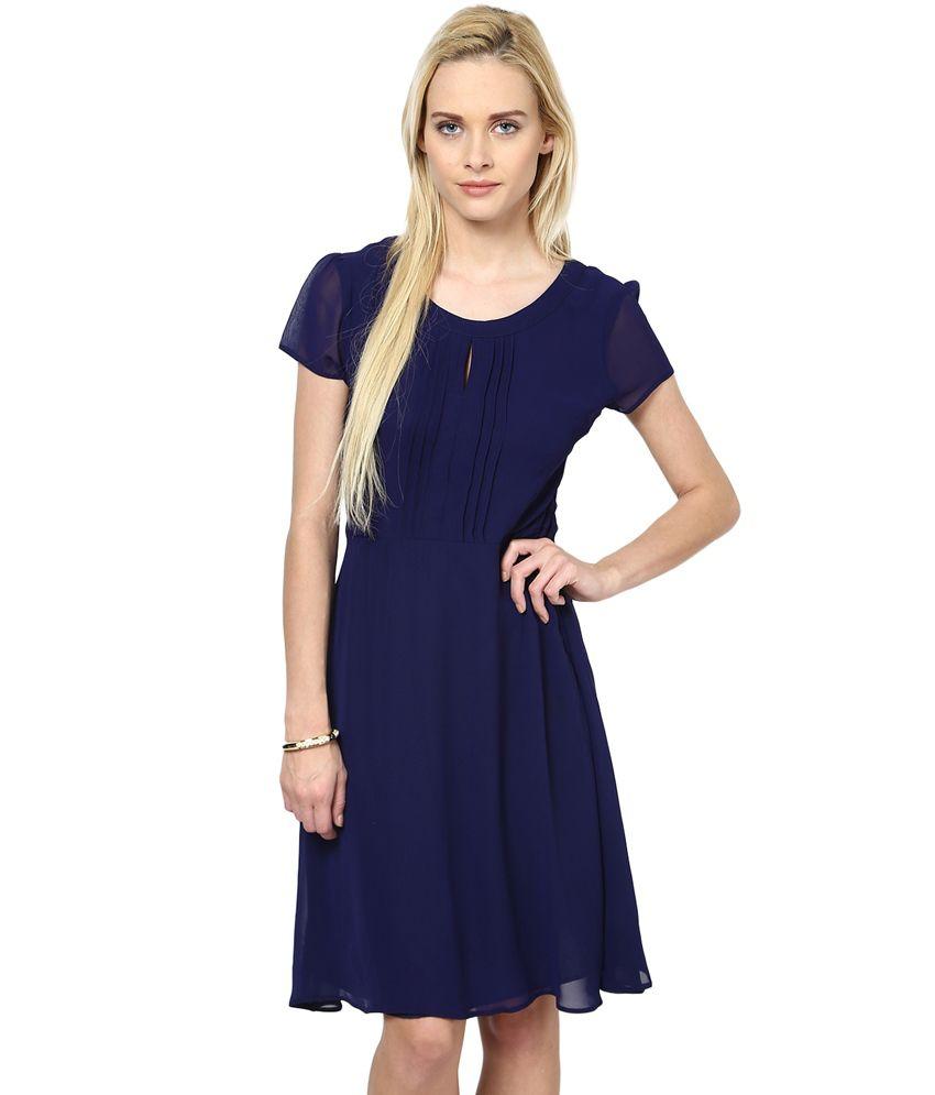 Harpa Navy Georgette Bright Dress