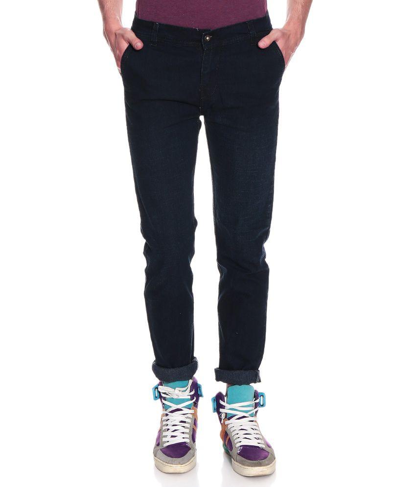 Fashion Slim Fit Black Cotton Jeans