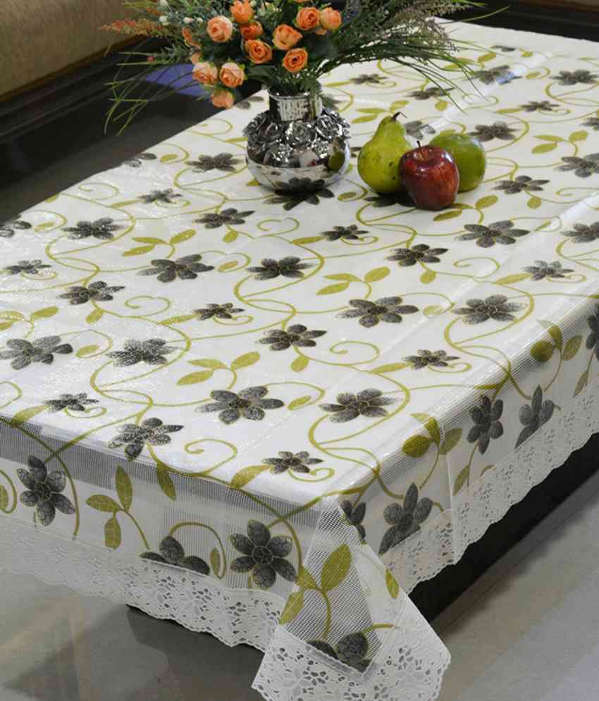 Freely Multicolor Pvc Printed With Pvc Lace Dining Oval Table Cover For 8 Seater
