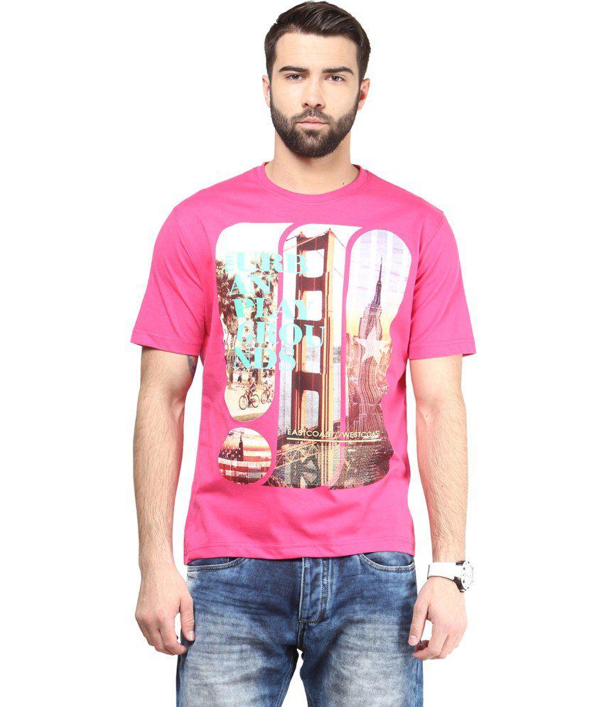 Funk Pink Cotton T Shirt For Men