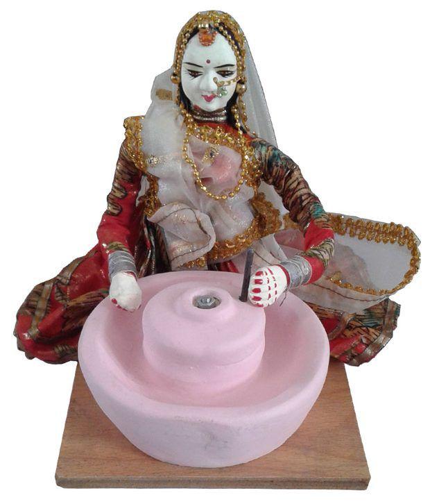 Jakhar Handicrafts Multicolour Wooden Lady
