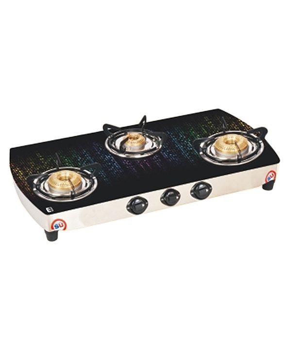 Kitchen Safe SU 3B 325 TRI GLASS CRV DIGITAL (NEW MATRIX) 3 Burner Glass  Top Gas Stove Multi