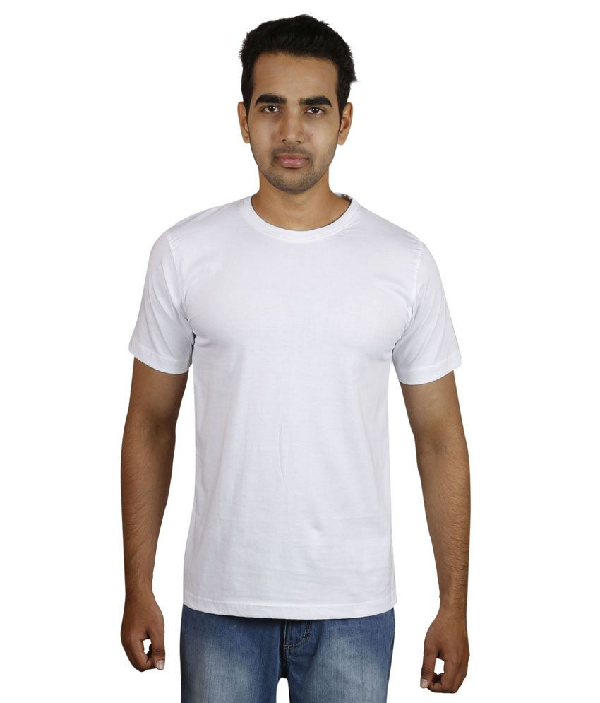 Meedo White Round Neck T-Shirt