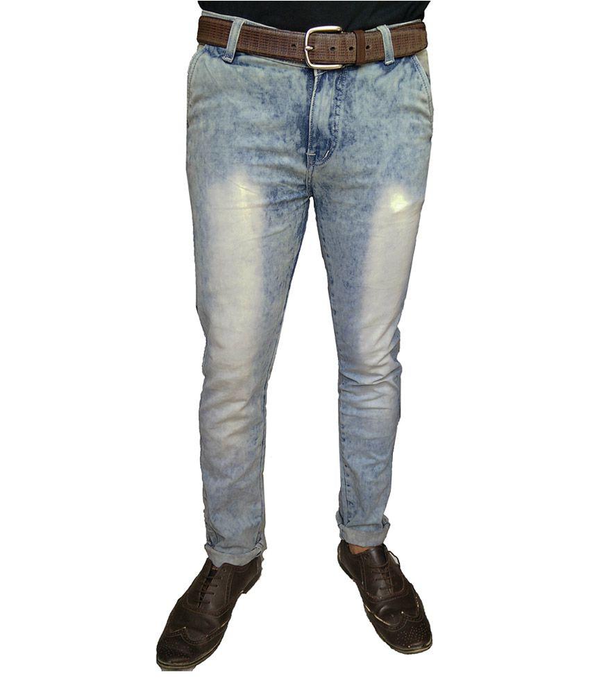 Oiin Blue Cotton Blend Slim Jeans