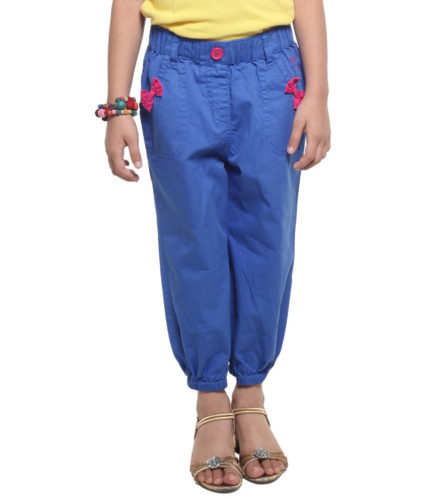 Stop By Shoppers Stop Blue & Pink Bow Detail Capris For Girls