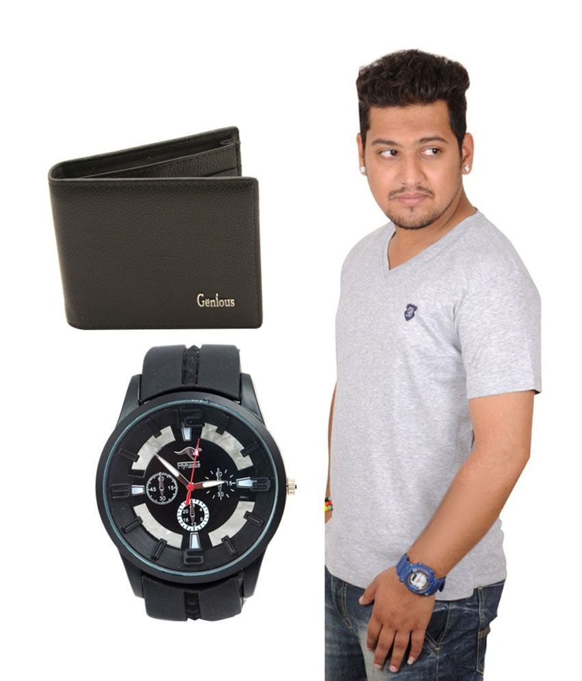TLH Grey Cotton Basics T-Shirt With Wallet And Watch Combo