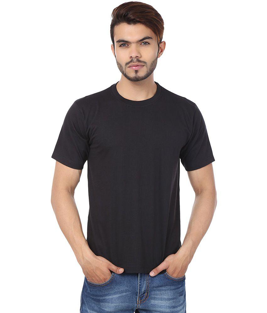 Weardo Black Cotton Half Sleeves Round Neck T-shirt