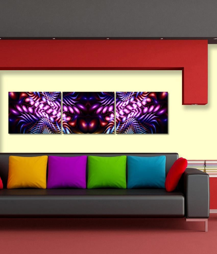 999store Glossy Printed Colorful Like Modern Wall Art Painting With Frame - 3 Frames