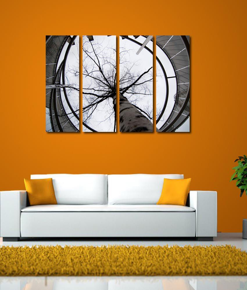 999store Glossy Printed Water Falls At Tree Like Modern Wall Art Painting With Frame - 4 Frames