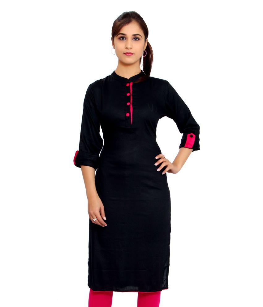 bravena black poly rayon plain kurti   buy bravena black