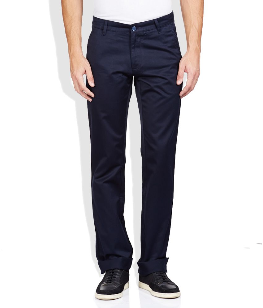 Code Navy Regular Fit Trousers