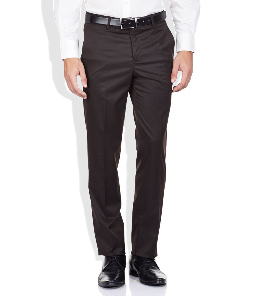 Code Brown Slim Fit Formal Trousers