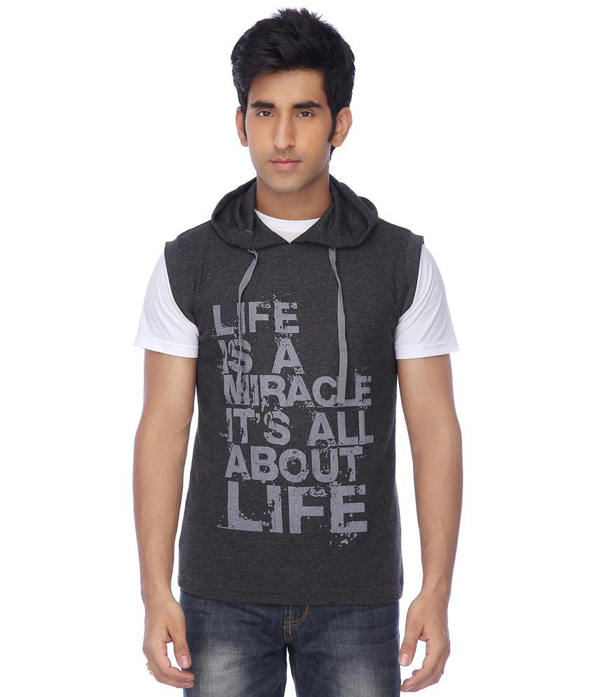 Life By Shoppers Stop Gray T-shirt