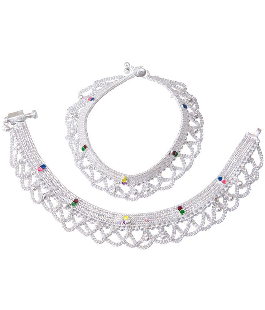 Taj Pearl Silver Festive Anklets