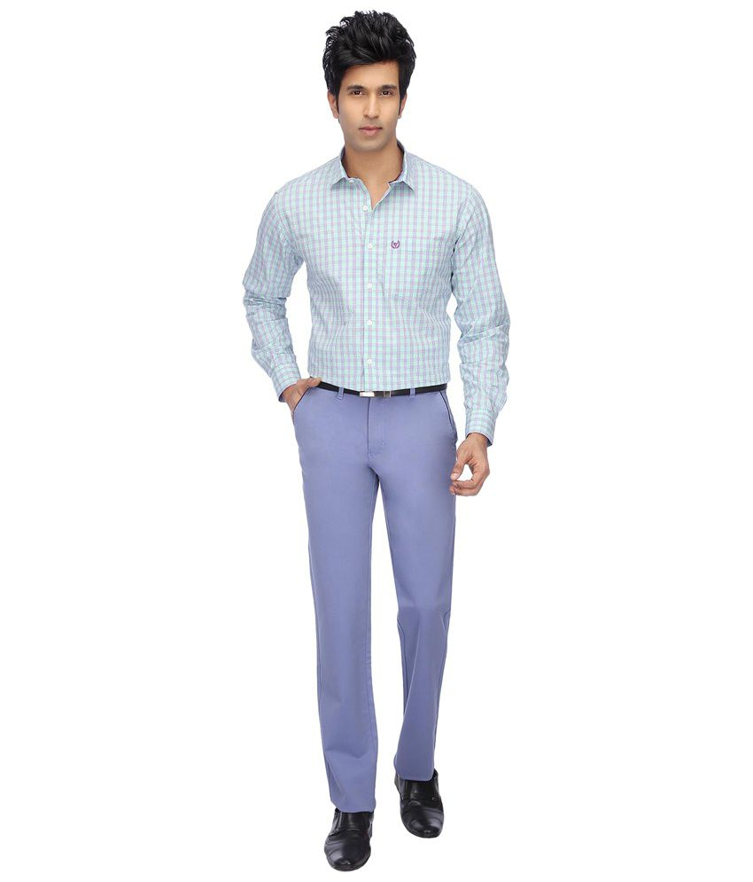 Vettorio Fratini By Shoppers Stop Blue Formal Trousers