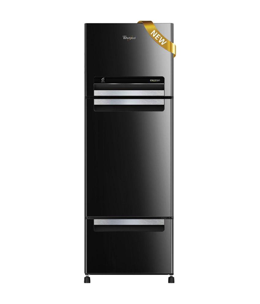 Whirlpool 330 Ltrs FP 343D Royal PROTTON Triple Door Refrigerator - Mirror Black