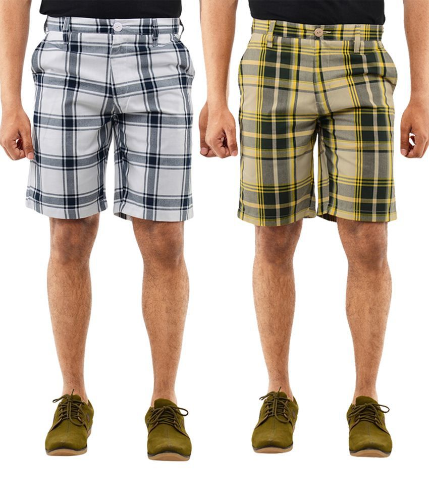 Blue Wave Unique Pack Of 2 Yellow & White Shorts