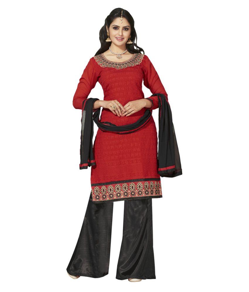 Jiya Presents Multi Embroidered Chanderi Dress Material With Plazo Bottom(Red,Black)