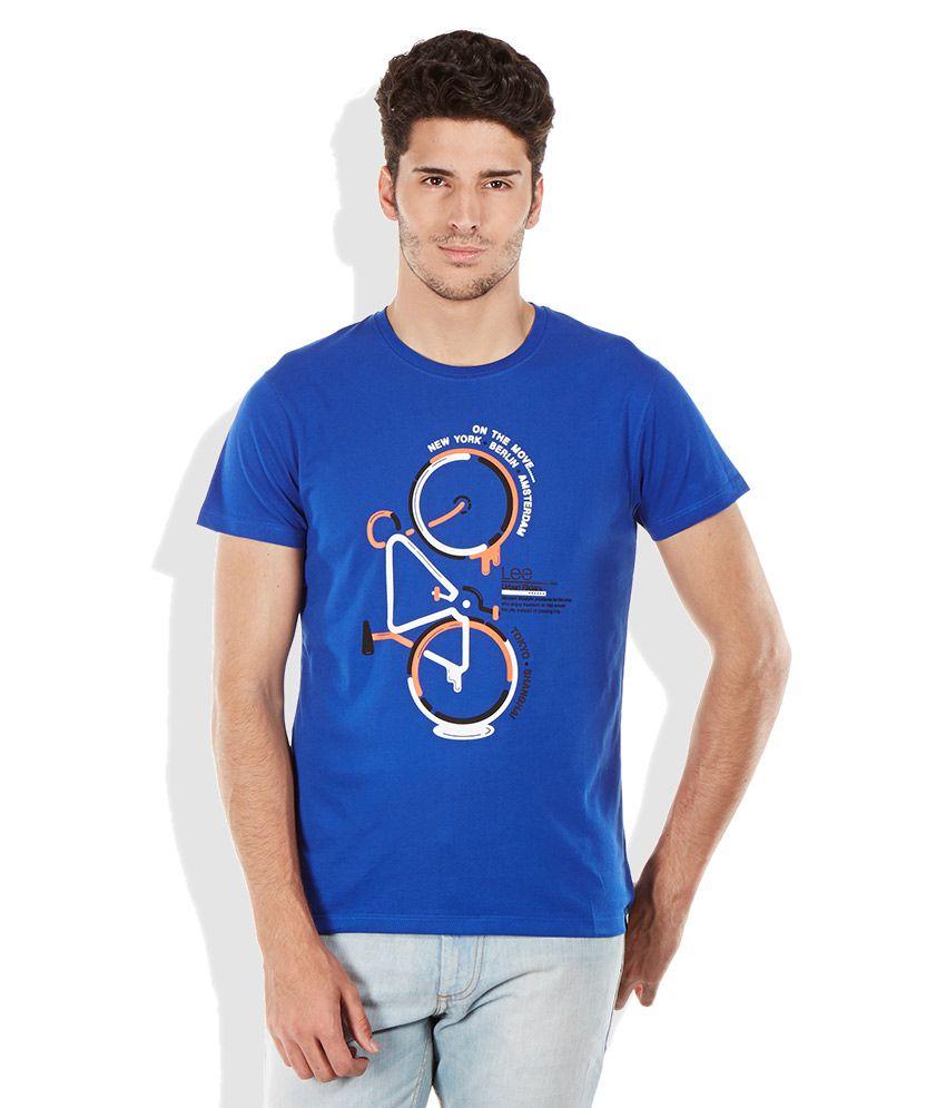Lee Blue Round Neck T Shirt