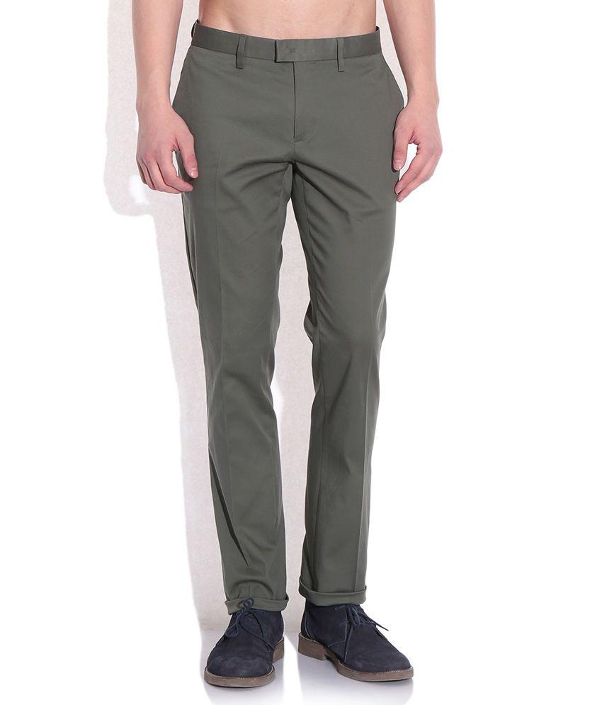 Sisley Green Slim Fit Casual Trousers