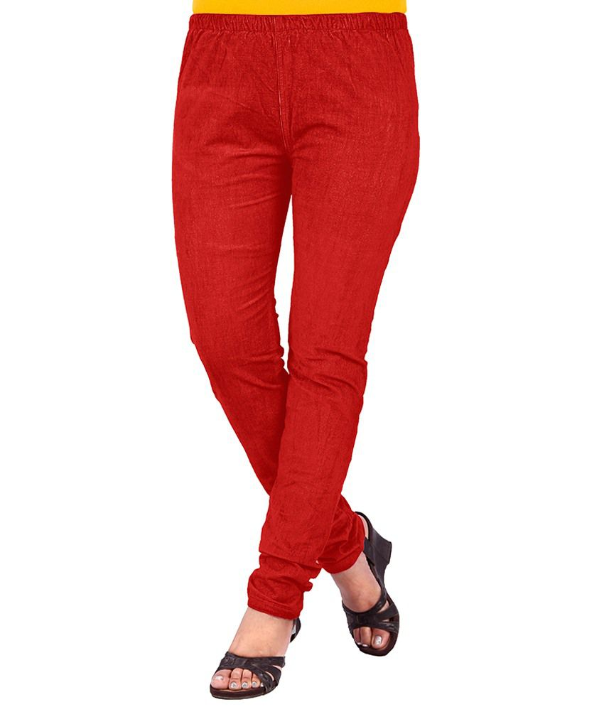 Uber Urban Red Cotton Jeggings