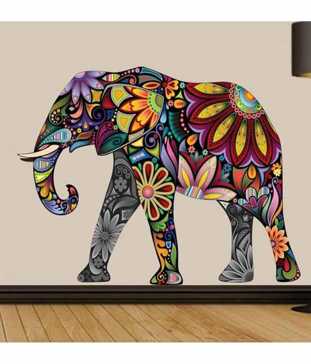 Stickerskart Wall Stickers Abstract Elephant 6984 60x90 Cms