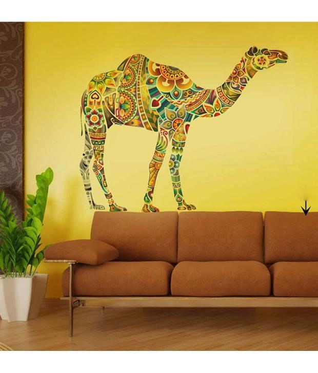 StickersKart Wall Stickers Wall Decals Modern Camel Art Design 6986 (60x90  Cms) ...