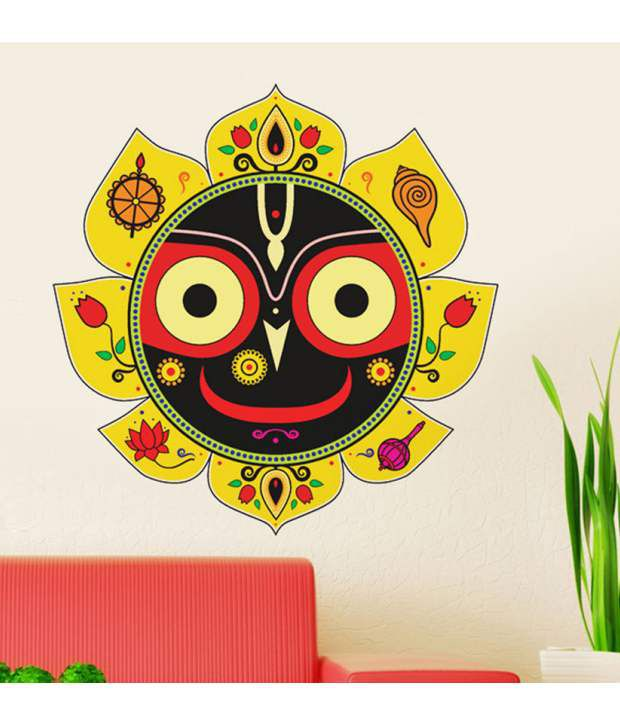 Stickerskart wall stickers lord jagannatha in yellow 6639 60x90 cms