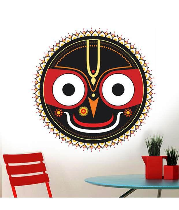 stickerskart wall stickers black god jagannatha motif (60x60 cms