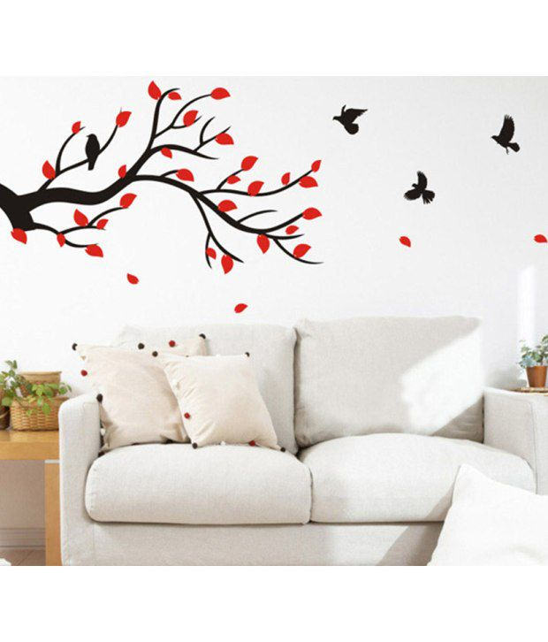 stickerskart wall stickers wall decals slender branch with red