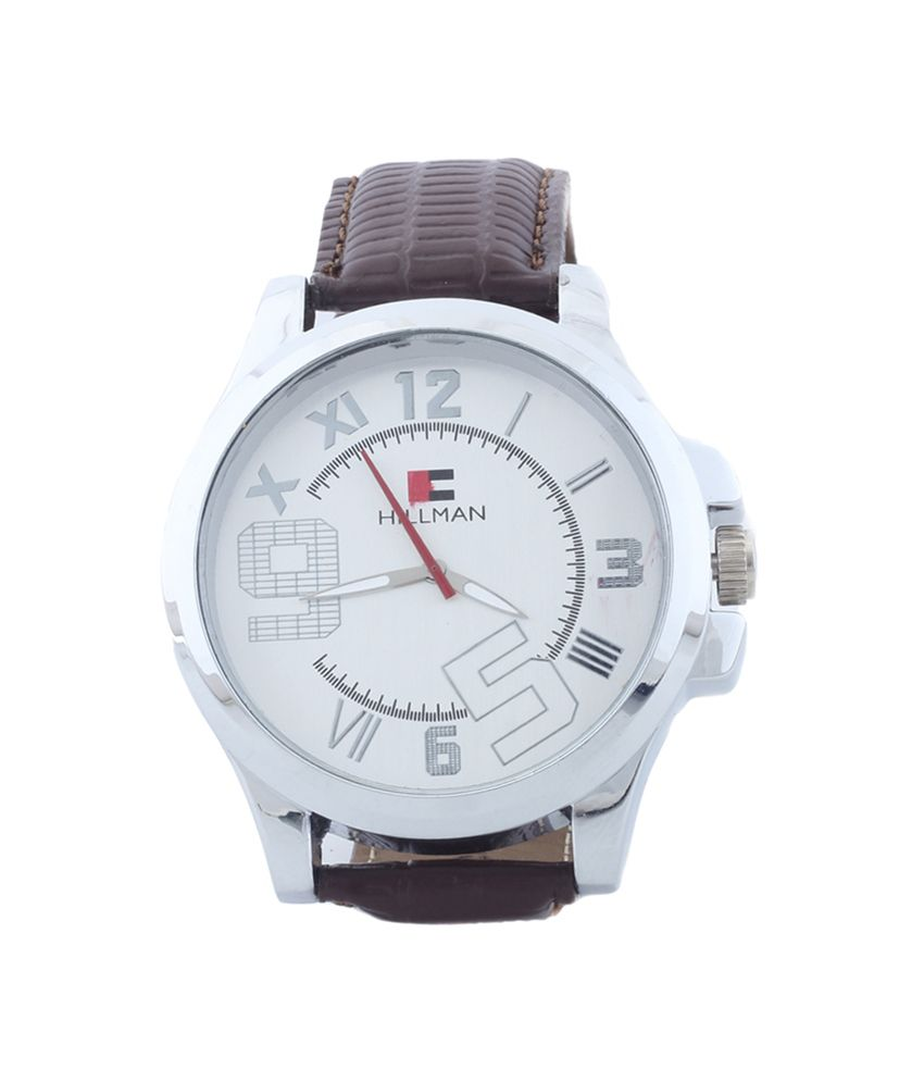 Hillman Silver Analog Leather Casual Wear Watch