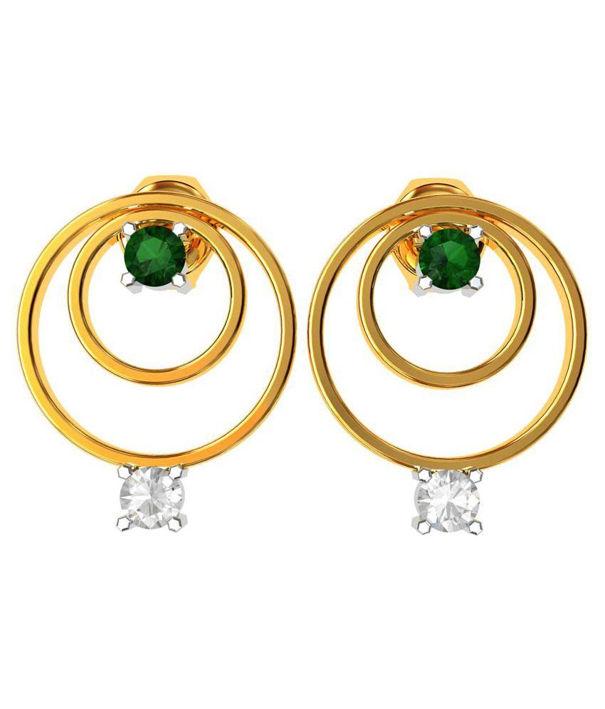 BlueCarats 18K Gold BIS Hallmark, Diamond & Gemstone Certified Diamond Emerald Circular Earring