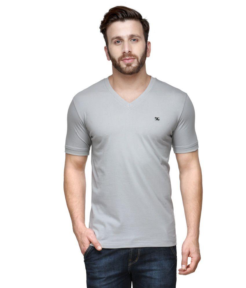 Dazzgear Gray Cotton V-Neck Half Sleeve T Shirt