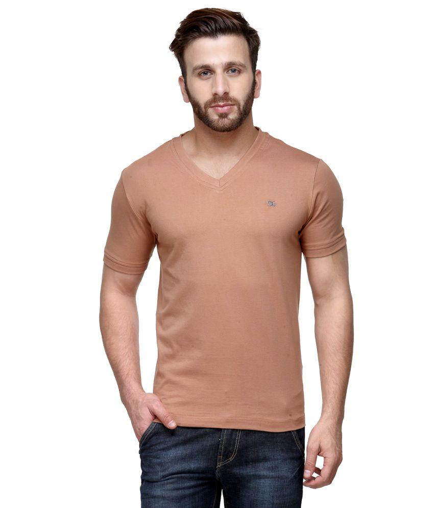 Dazzgear PeachPuff Cotton V-Neck Half Sleeve T Shirt