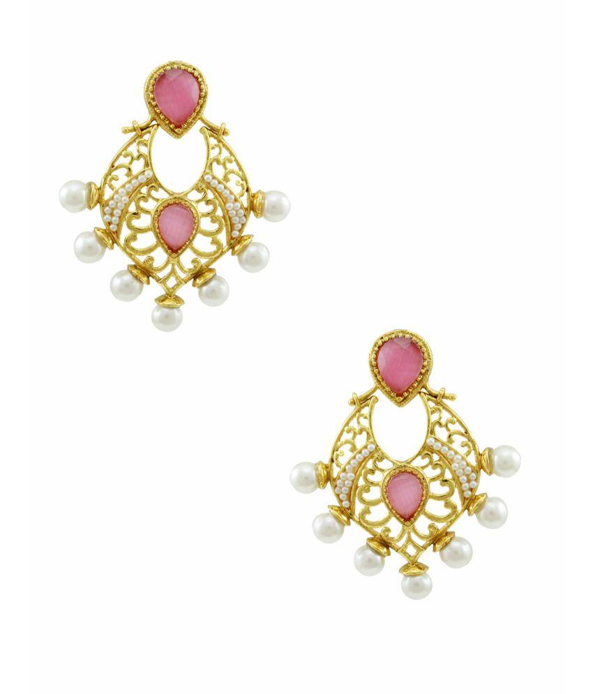 Orniza Traditional Pink Rajwadi Earrings