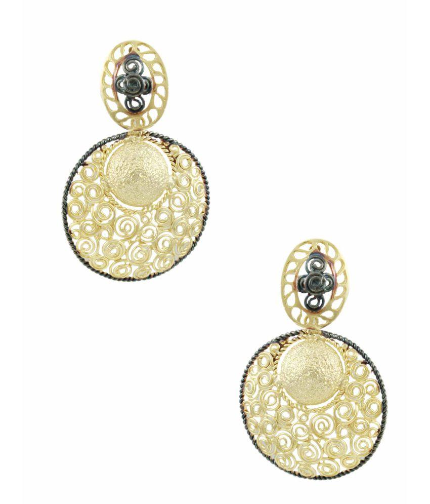 Orniza Fascinating Abstract Design Matt Gold Finish Earrings